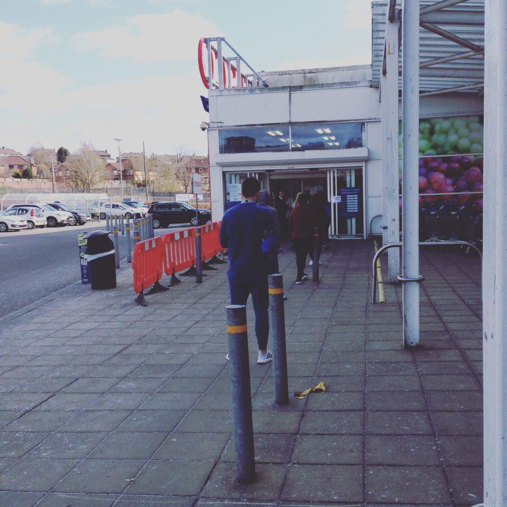 Social distancing queueing at Tesco
