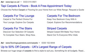 Google ads on a search results page